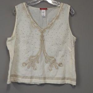 AK Anne Klein embroidered linen top plus size 16